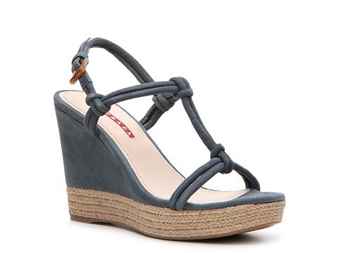 Sandale Prada - Suede Wedge Sandal - Slate Blue