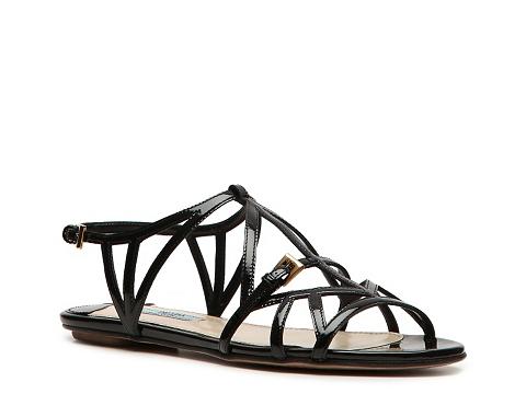 Sandale Prada - Patent Leather Cutout Flat Sandal - Black