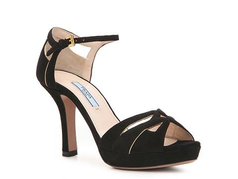 Sandale Prada - Suede Cutout Sandal - Black