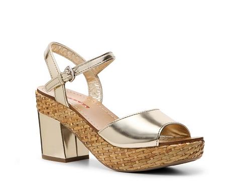 Sandale Prada - Metallic Patent Leather Peep Toe Sandal - Pewter