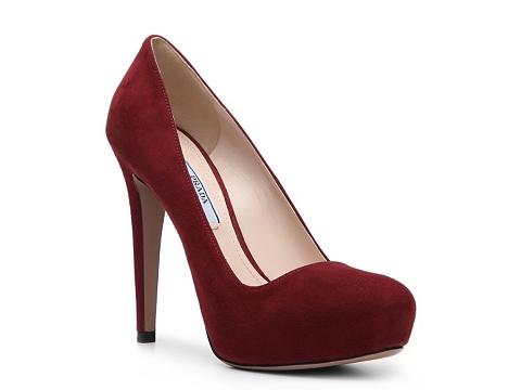 Pantofi Prada - Suede Platform Pump - Berry