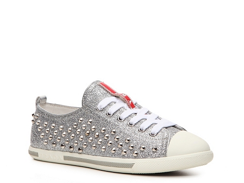 Adidasi Prada - Glitter Studded Sneaker - Silver