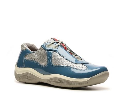 Adidasi Prada - Patent Leather and Mesh Sneaker - Light Blue