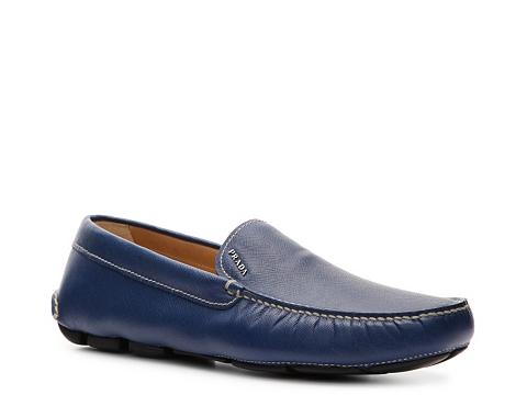 Pantofi Prada - Textured Leather Loafer - Cobalt Blue