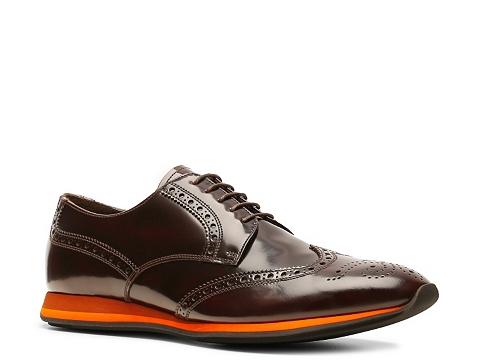 Pantofi Prada - Leather Wingtip Sport Oxford - Red/Orange