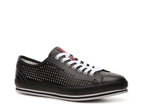Pantofi Prada - Leather Cutout Sneaker - Black
