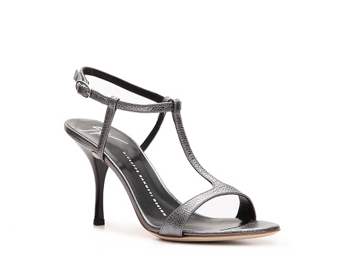 Sandale Giuseppe Zanotti - Metallic Leather Ankle Strap Sandal - Pewter