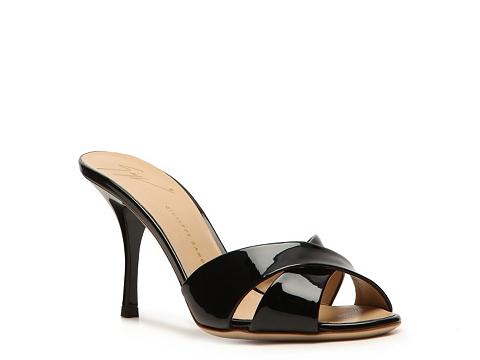 Sandale Giuseppe Zanotti - Patent Leather Peep Toe Sandal - Black
