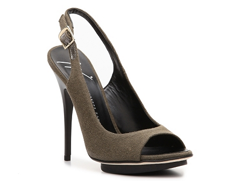 Pantofi Giuseppe Zanotti - Canvas Slingback Pump - Olive Green