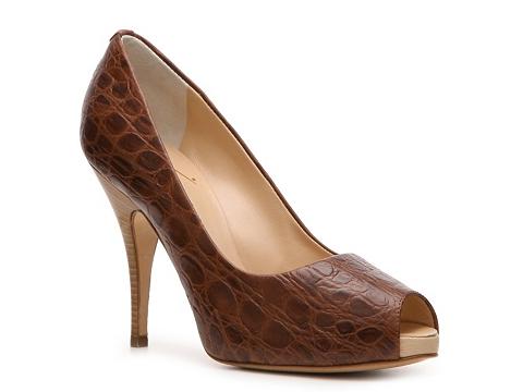 Pantofi Giuseppe Zanotti - Crocodile Leather Peep Toe Pump - Brown