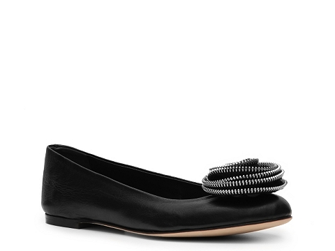 Balerini Giuseppe Zanotti - Leather Flower Flat - Black