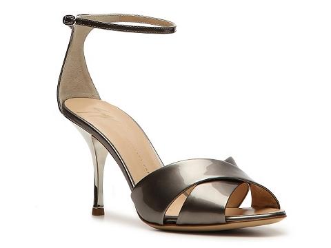 Botine Giuseppe Zanotti - Metallic Leather Peep Toe Sandal - Pewter