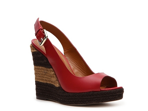 Sandale Fendi - Leather Wedge Sandal - Red