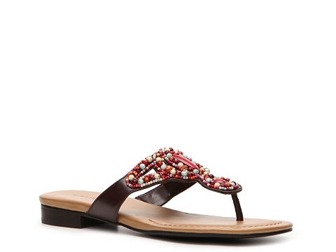 Sandale Ann Marino - Minuet Beaded Flat Sandal - Multicolor/Red