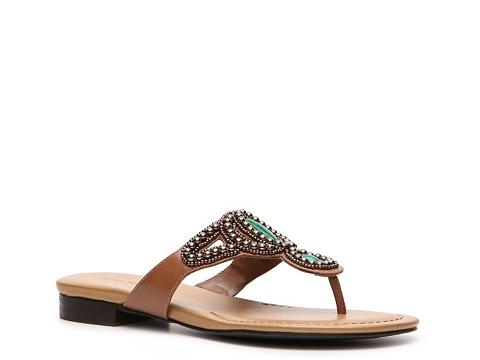 Sandale Ann Marino - Minuet Beaded Flat Sandal - Pewter/Jade