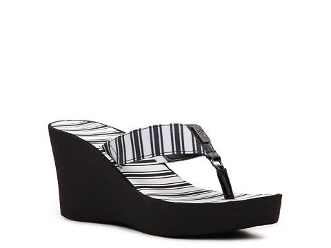 Sandale BCBG Paris - Sager Wedge Flip Flop - Black/White Stripe