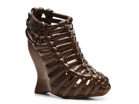Sandale Bottega Veneta - Patent Leather Wedge Bootie - Brown