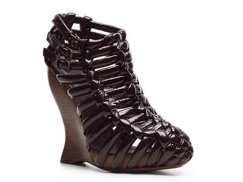 Sandale Bottega Veneta - Patent Leather Wedge Bootie - Dark Purple