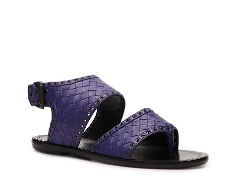 Sandale Bottega Veneta - Woven Leather Flat Sandal - Indigo