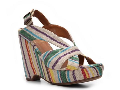 Sandale Crown Vintage - Realm Striped Wedge Sandal - Ivory Multi