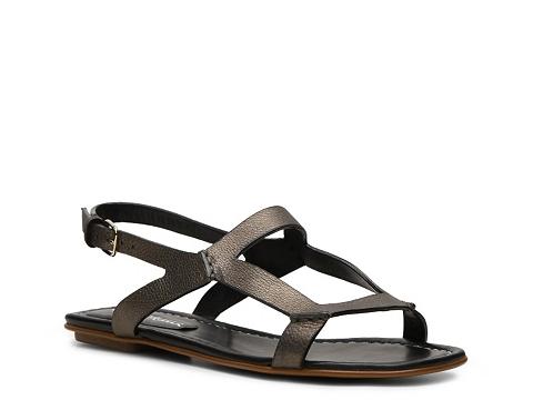Sandale Santoni - Metallic Leather Flat Sandal - Pewter
