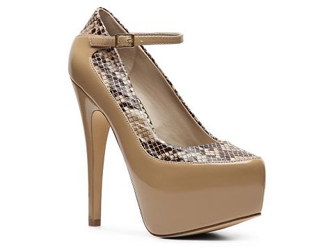 Pantofi Sole Obsession - Hairpin-20 Platform Pump - Taupe/Snake