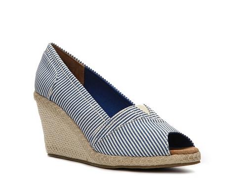 Pantofi Wanted - Anchor Striped Wedge Pump - Blue
