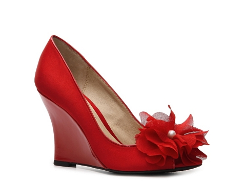 Pantofi Lulu Townsend - Blossom Wedge Pump - Red