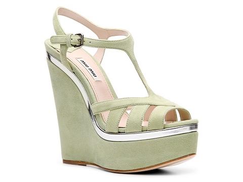 Sandale Miu Miu - Suede Wedge Sandal - Green