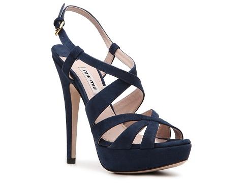 Sandale Miu Miu - Suede Platform Sandal - Navy Blue