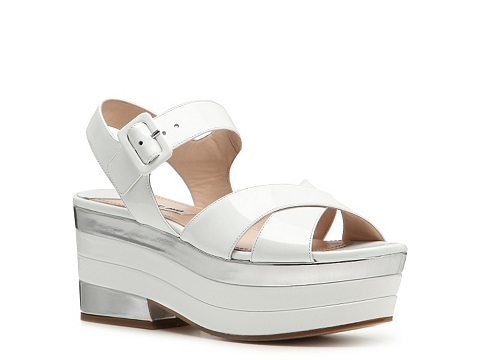 Sandale Miu Miu - Patent Leather Platform Sandal - White/Silver