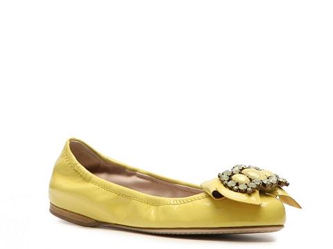 Balerini Miu Miu - Patent Leather Jewel Flat - Yellow