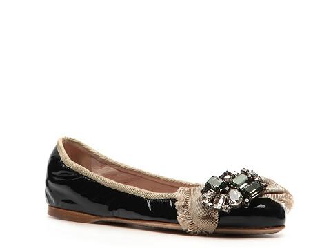 Balerini Miu Miu - Patent Leather Crystal Ballet Flat - Black