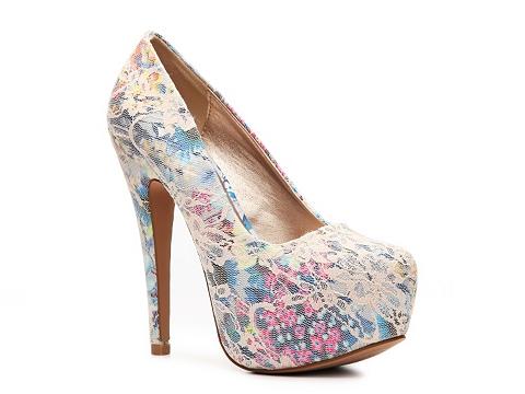 Pantofi Qupid - Penelope-127 Platform Pump - Nude/Multicolor Floral