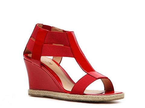 Sandale Rangoni by Amalfi - Fabric & Patent Leather Wedge Sandal - Red