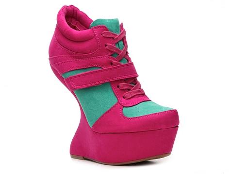Adidasi Qupid - Ting-08 Wedge Sneaker - Fuchsia/Aqua