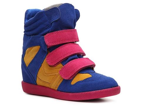 Adidasi Qupid - Patrol-01 Color Block Wedge Sneaker - Blue/Yellow/Pink