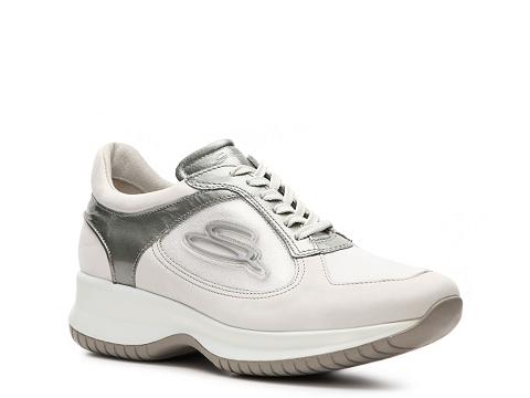 Adidasi Santoni - Suede Sneaker - White/Pewter