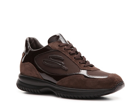 Adidasi Santoni - Patent Leather & Nylon Sneaker - Brown