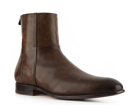 Ghete Santoni - Burnished Leather Zipper Boot - Light Brown
