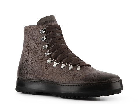 Pantofi Santoni - Textured Leather and Canvas Boot - Distressed Grey