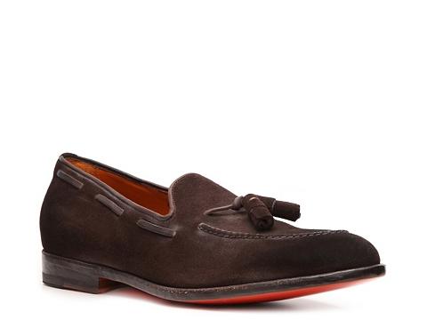 Pantofi Santoni - Distressed Suede Loafer - Chocolate