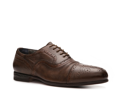 Pantofi Santoni - Textured Leather Cap Toe Oxford - Brown