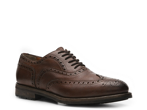 Pantofi Santoni - Textured Leather Wingtip Oxford - Brown