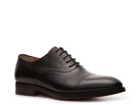 Pantofi Santoni - Leather Cap Toe Oxford - Dark Brown