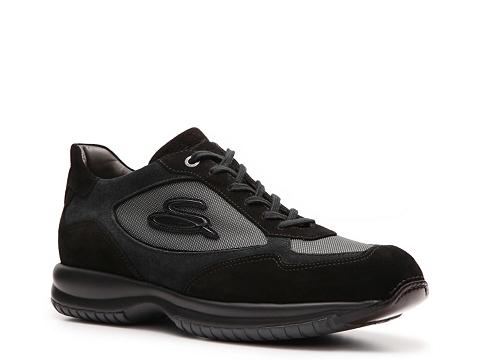 Pantofi Santoni - Canvas & Suede Logo Sneaker - Black