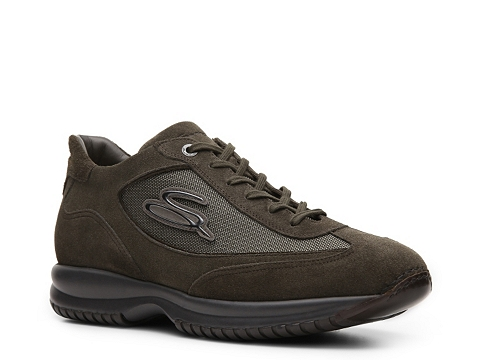Pantofi Santoni - Suede & Mesh Logo Sneaker - Grey