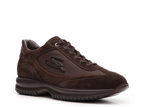 Pantofi Santoni - Suede & Canvas Logo Sneaker - Brown