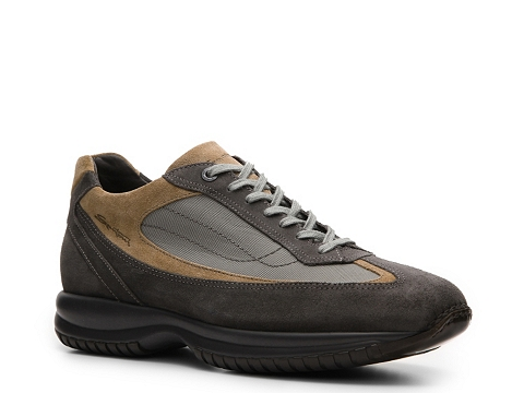 Pantofi Santoni - Suede & Canvas Sneaker - Grey/Tan