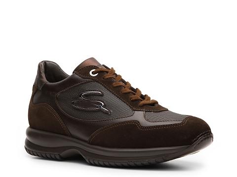 Pantofi Santoni - Suede & Canvas Logo Sneaker - Chocolate Brown